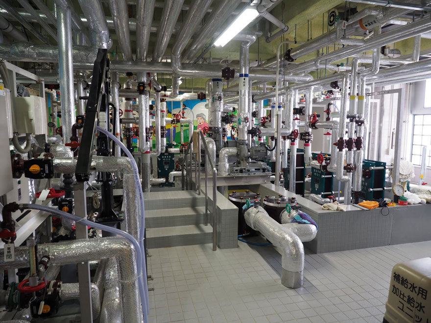 熱交換と、その熱を各施設に分配するための設備